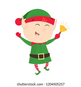 Cheerful elf ringing bell. Happy, dancing, activity. Christmas concept. Can be used for greeting cards, posters, leaflets and brochure