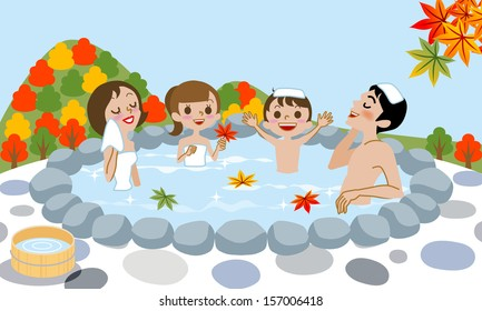 Cheerful family Enjoying Japanese Hot Spring in Autumn.