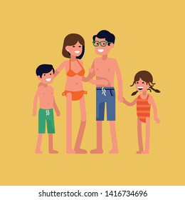 Cheerful family ready to have a great time on summer beach. Hot summer vacation themed illustration with parents and young children standing isolated wearing swimsuits