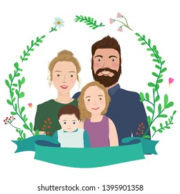 Cheerful family with two children in floral wreath frame. Cartoon characters.