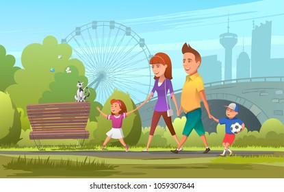 Cheerful family walking in park. Vector illustration of happy parents with children walking together in green park.