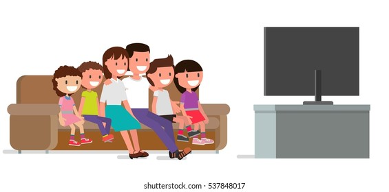 cheerful family watching TV. Mom, dad, parents. Daughter, son, brother, sister, children, boy, girl. couch. Vector illustration. Flat design  color