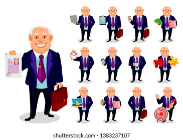 Cheerful fat business man. Concept of businessman cartoon character. Vector illustration.