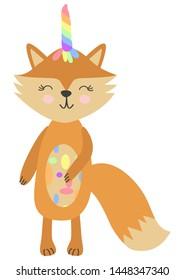 Cheerful fox unicorn fox with rainbow waving paw, child design