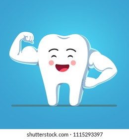Cheerful funny cartoon tooth character showing sturdy enamel biceps. Strong and healthy bodybuilder tooth metaphor. Motivational clipart. Children dentistry character. Flat vector isolated illustratio