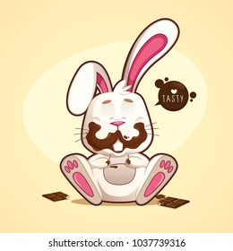 Cheerful and funny dirty chocolate rabbit with chocolates bitten around with a sign saying tasty. vector illustration