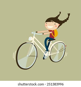 cheerful girl riding a bicycle. isolated cartoon character. cute girl on bike.