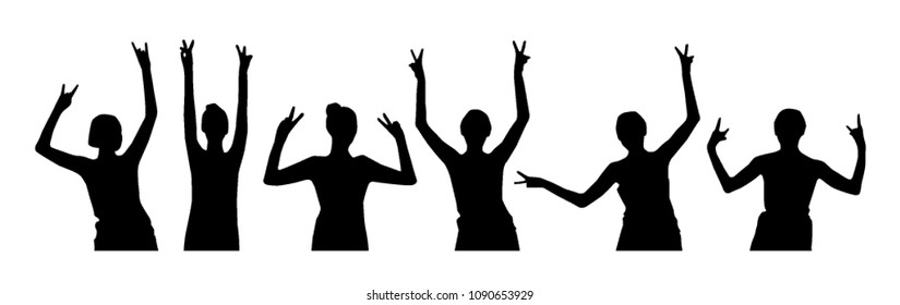 Cheerful girl silhouettes