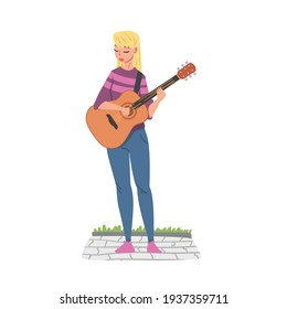 Cheerful Girl Street Guitarist Character Playing Acoustic Guitar, Live Performance Concept Cartoon Style Vector Illustration