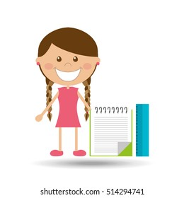 cheerful girl study notebook ruler design vector illustration eps 10