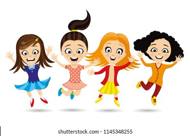 Cheerful girlfriends in a jump on a white background.