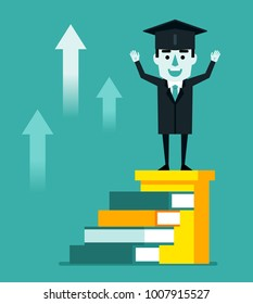 Cheerful graduate student stands on top stairs made of books and celebrates. Successful graduation, career growth through education concept. Flat style vector illustration