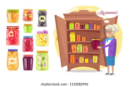 Cheerful granny with preserved food in cupboard, isolated vector domestic healthy meal canned into glass jars, fruits and vegetables homemade snacks