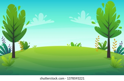 cheerful grass meadow at park trees and bushes flowers scenery background. vector illustration of forest nature happy cartoon style