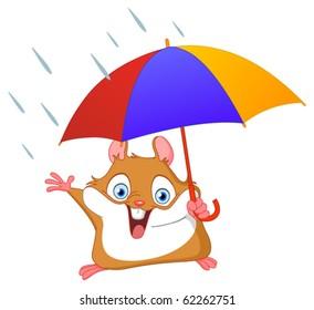 Cheerful hamster holding umbrella