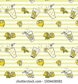 Cheerful hand drawn seamless pattern with yellow lemons, lemonade glass containing straw, cubes and lemon slices on striped background. Nice vector doodle for textile design, scrapbook or wallpaper.