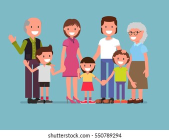 cheerful happy big family, mom, dad, son, daughter. Parents and children, grandfather, grandmother, the older generation. Vector illustration. flat design style