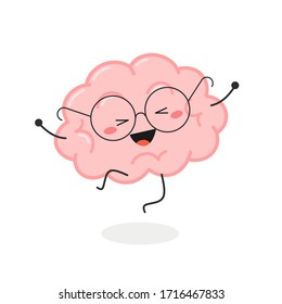 Cheerful happy cartoon brain in eyeglasses jumping for joy. Vector flat illustration isolated on white background