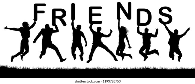 Cheerful happy people friends in a jump. Vector silhouette. Hold the letters in their hands, the word friends