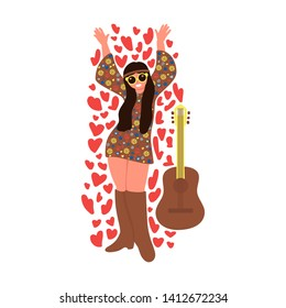 Cheerful hippie girl with guitar isolated on white background. Subculture. Vector illustration.