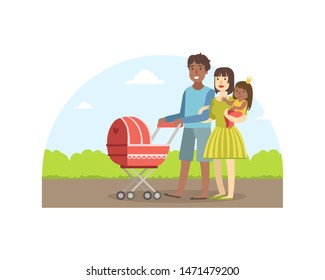 Cheerful Interracial Parents with Their Toddler Daughter and Baby Walking in Park Outdoor, Father Carrying Baby Stroller, Mother Holding Her Little Daughter, Happy Family Vector Illustration