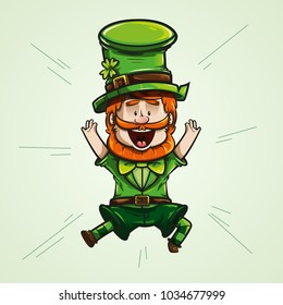 cheerful Irish goblin with a big smile, jumping with joy with open hands. vector illustration