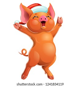 The cheerful joyful ruddy red pig rejoices standing on hind legs in the Santa Claus cap. A cartoon vector illustration isolated on white.