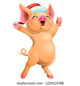 The cheerful joyful ruddy yellow pig rejoices standing on hind legs in the Santa Claus cap. A cartoon vector illustration isolated on white.