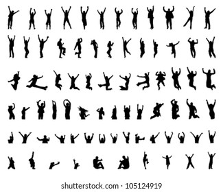 cheerful and jumping girls and boys and child