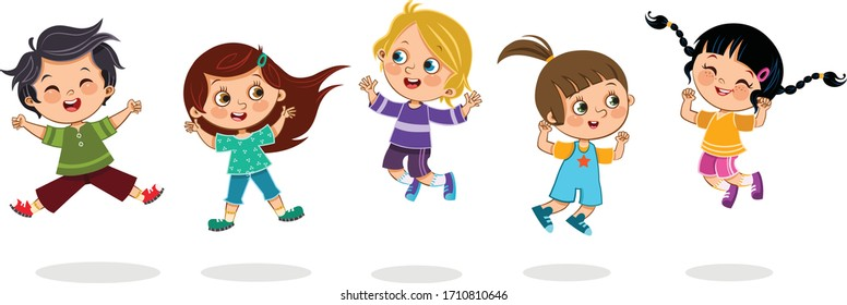 Cheerful kids jumping together.  Isolated vector illustration.