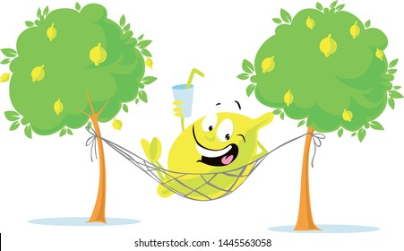 Cheerful Lemon Character Lay in Hammock with Fresh Drink - Vector Illustration Isolated on White