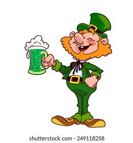 Cheerful leprechaun with a mug of green beer. Vector illustration on a white background.