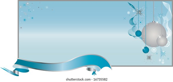 Cheerful Light Blue Background Pattern with Toys, Ornaments and Ribbon