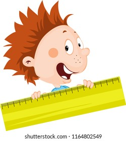 cheerful little boy peeks out from the ruler illustration flat design isolated on white