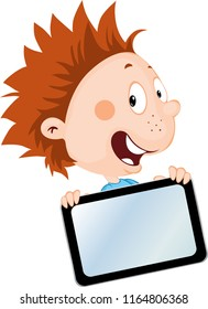 cheerful little boy with tablet - vector illustration