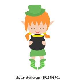 Cheerful little elf holding a pot of gold. Design for Patrick day. Can be used for stiker, banner, card, poster and any design.