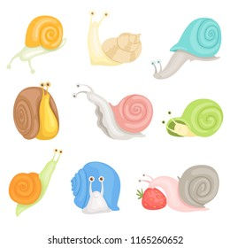Cheerful little garden snails set, cute clams with colorful shells vector Illustrations on a white background