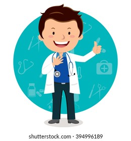Cheerful male doctor. Vector illustration of a smiling doctor with medical icons background.