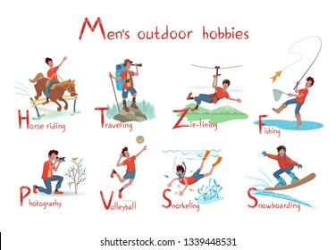 Cheerful man engaged in  activities:fishing, horse riding, photography, snorkeling, traveling, volleyball playing, snowboarding, zip-lining.Isolated vector illustration with texture in cartoon style