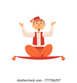 Cheerful man flying on magic carpet. Magician showing levitating trick. Cartoon male character in colorful costume with red fez on head. Flat vector design