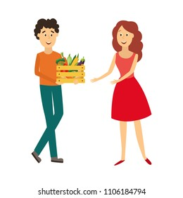 Cheerful man giving wooden box with fresh vegetables from farmer market to woman in red dress smiling. Happy male and female characters. Vector flat isolated illustration