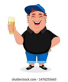 Cheerful man holding a glass of beer. Vector illustration on white background