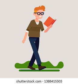 Cheerful man reading while walking flat design vector illustration. Smiling bookworm person concept illustration. Devoted book lover can't stop reading his favourite book