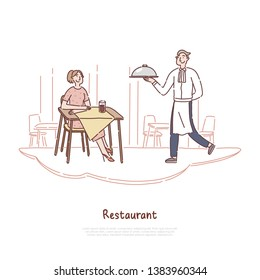 Cheerful man in uniform serving dish, waiter occupation, young woman waiting for order, cafeteria staff, restaurant banner