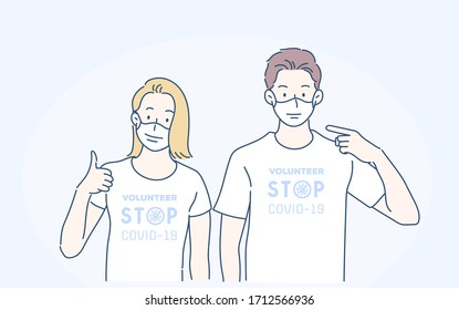 Cheerful man and woman in volunteers t-shirt, they pointing index finger on sterile face mask. Infection control concept. Hand drawn in thin line style, vector illustrations.(A Mask can be removable)