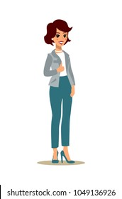 Cheerful manager showing thumb up. Businesswoman character set. Animate character. Young lady personage. Different woman postures. Vector cartoon personage.