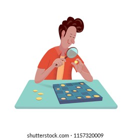 Cheerful man-numismatist is looking at a coin through the magnifying glass. Vector isolated illustration with texture in cartoon style
