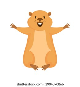 Cheerful marmot icon vector. Happy woodchuck cartoon character. Cheerful rodent icon isolated on a white background