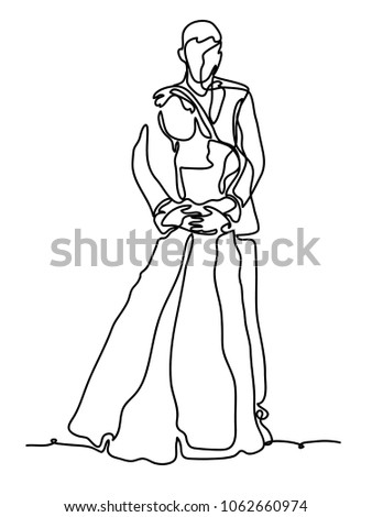 cheerful married couple continuous line drawing stock vector Construction Clip Art continuous line drawing isolated on the white background vector monochrome