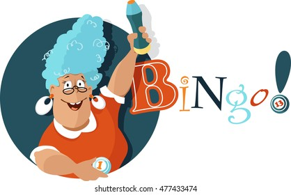 Cheerful mature woman holding a bingo ball and a felt pen, EPS 8 vector illustration, no transparencies